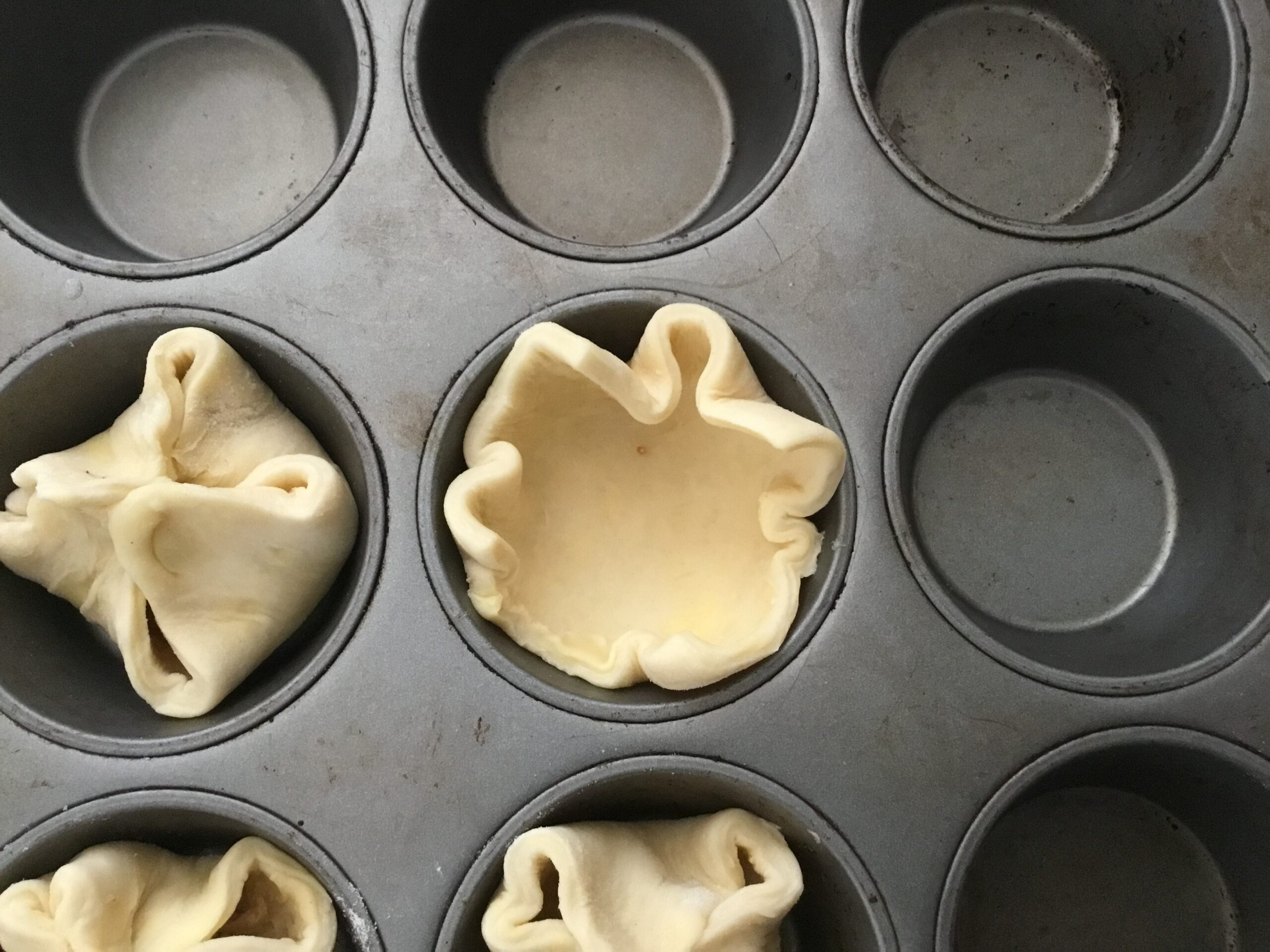 Pastry in muffin tins